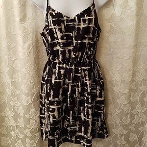 Sexy black and cream mini dress